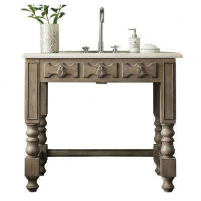 Castilian 39 in. W Single Vanity in Empire Gray with Marble Vanity Top in Galala Beige with White Basin