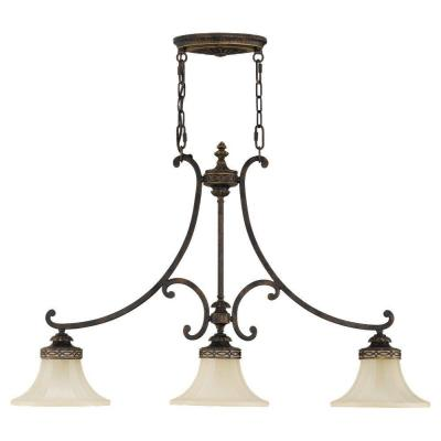 Drawing Room 3-Light Walnut Chandelier with Amber Glass Shade