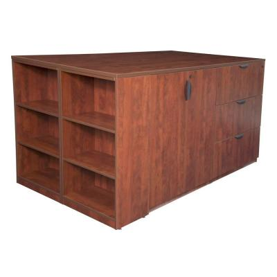 Magons Stand Up Cherry Lateral File/3 Storage Cabinet Quad with Bookcase End