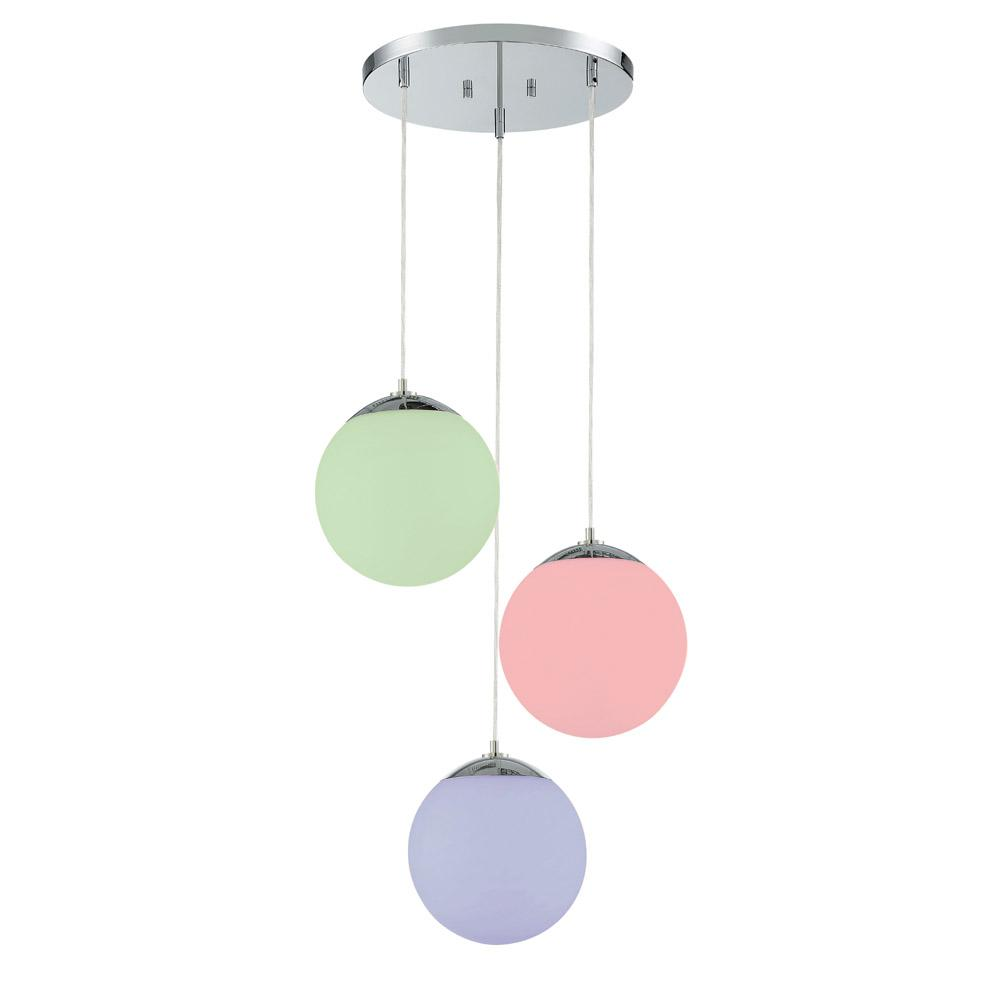 Designers Fountain 3-Light Chrome Hanging Pendant with Frosted Globe Shades and Color Changing Smart LED Bulbs Included