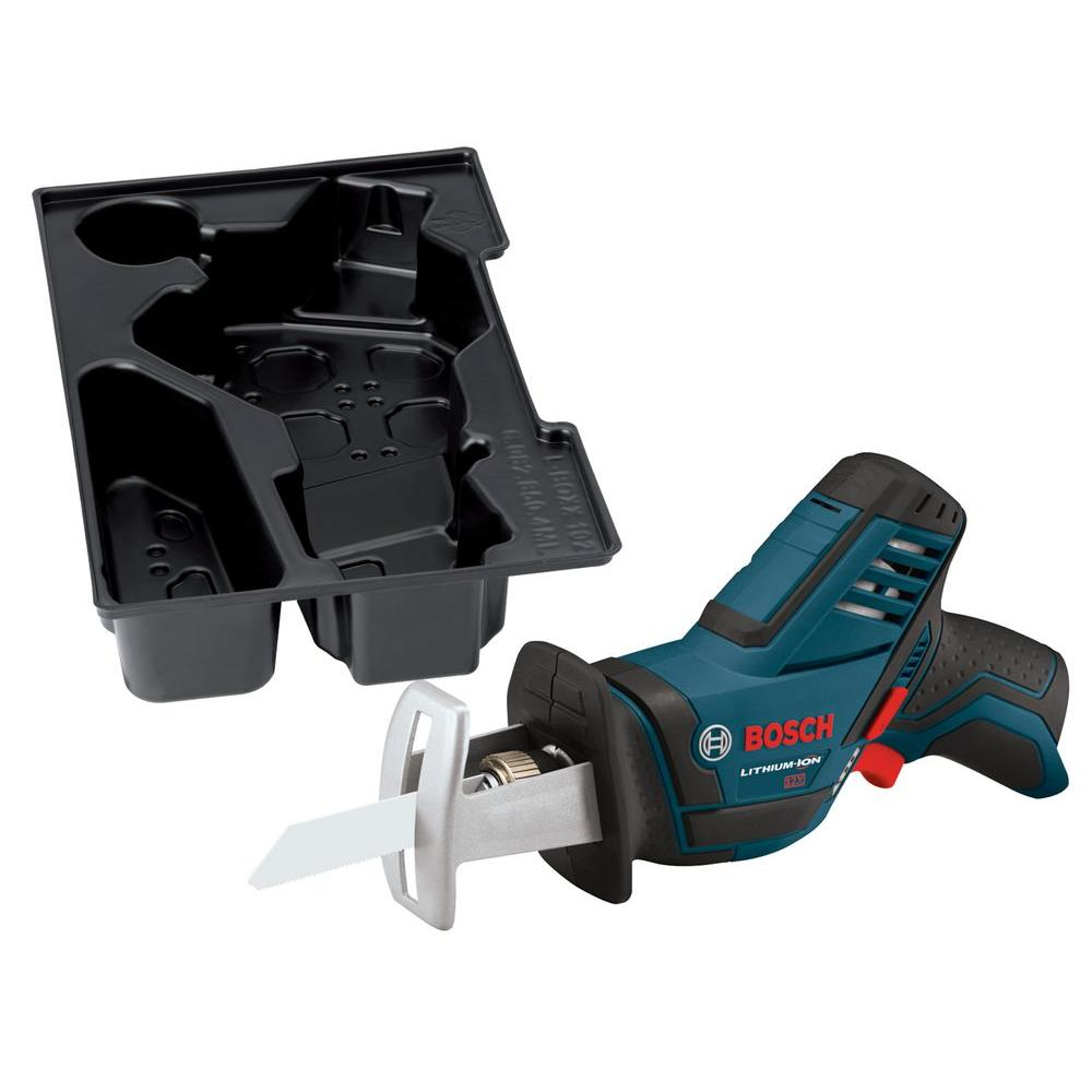 Bosch 12 Volt Lithium-Ion Cordless Electric Variable Speed Pocket Reciprocating Saw with Exact-Fit Insert Tray (Tool-Only)