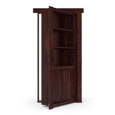 32 in. x 80 in. Flush Mount Assembled Laundry Door Alder Dark Stained Right-Hand Outswing