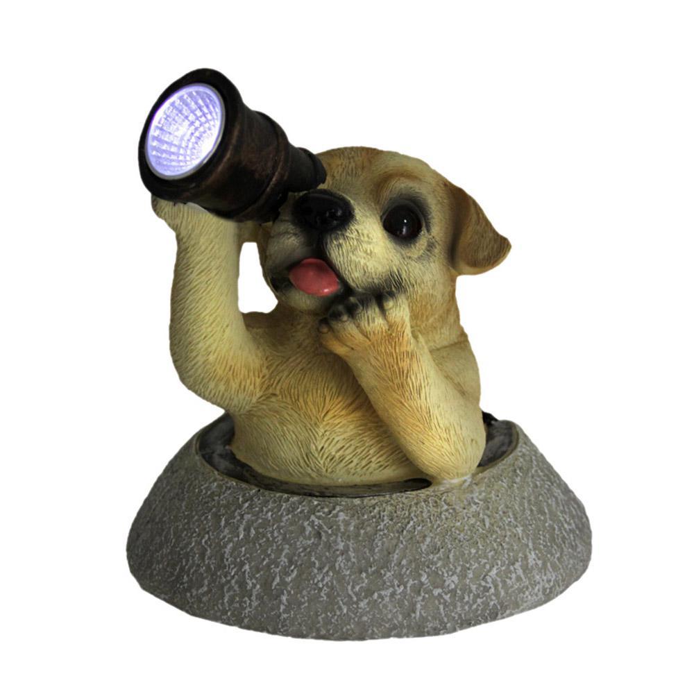Adorable Solar Eyes Spyglass Labrador Puppy Dog LED Accent Light Garden Statue