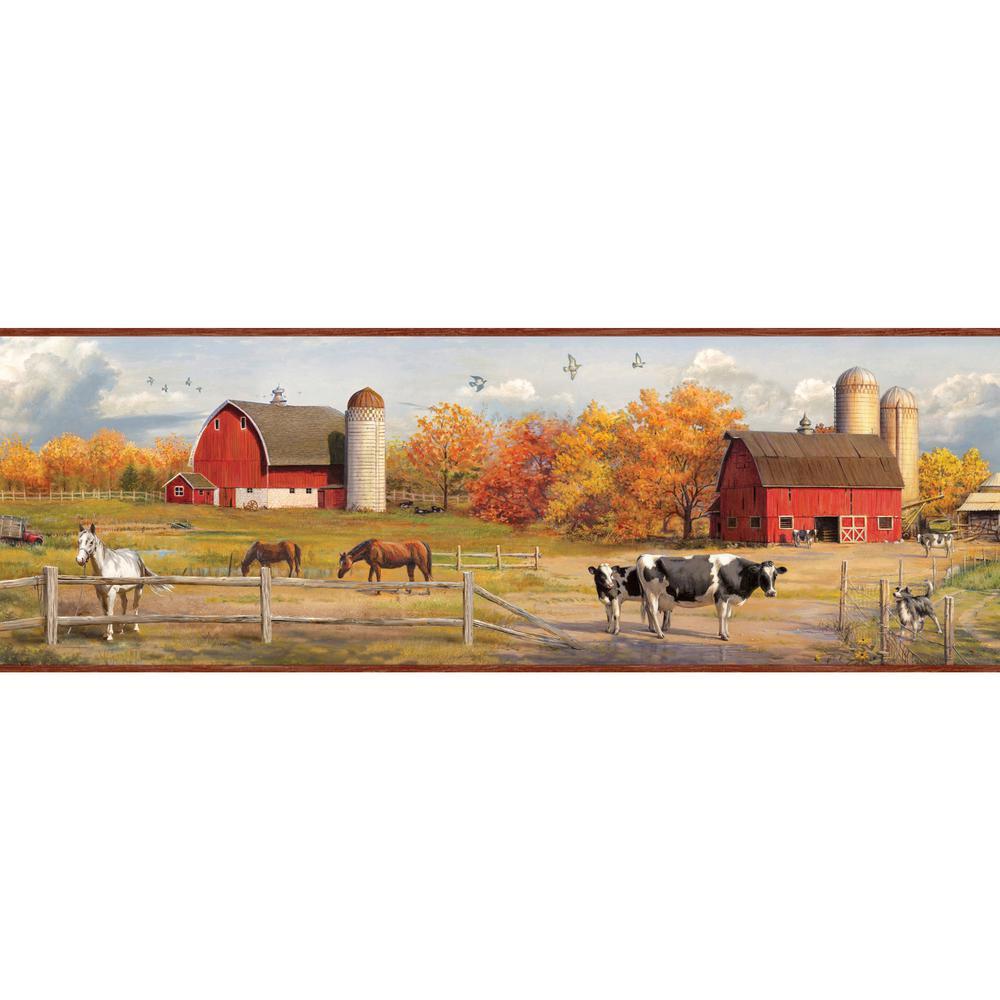 Jonny Red American Farmer Portrait Red Wallpaper Border Sample