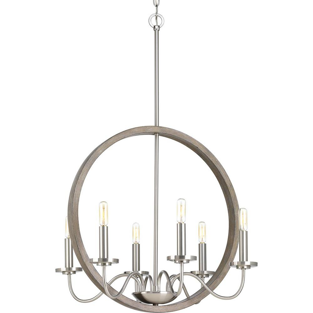 Progress Lighting Fontayne Collection 6-Light Brushed Nickel Chandelier