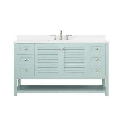 Grace 60 in. W x 22 in. D Bath Vanity in Minty Latte with Cultured Stone Vanity Top in White with White Basin