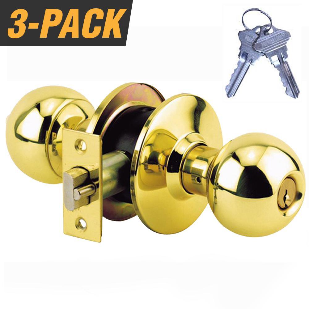 "BALL KNOB KEYED ENTRY DOOR LOCK  POLISHED BRASS FINISH-GRADE 2-2-3//4/"" BACKSET"