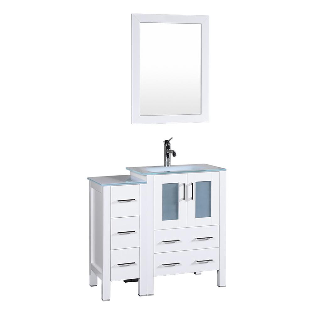 Bosconi 36 In W Single Bath Vanity In White With Tempered Glass
