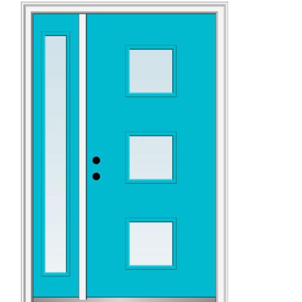 Mmi Door 51 In X 81 75 In Aveline Low E Glass Right Hand 3 Lite Modern Painted Fiberglass Smooth Prehung Front Door W Sidelite Z0346060r The Home Depot