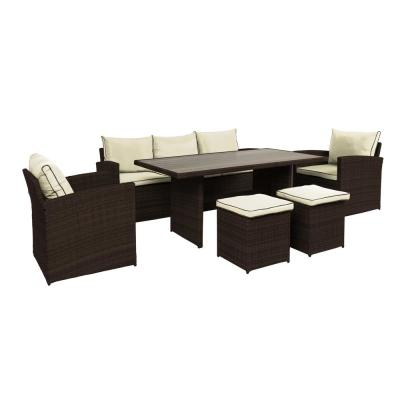 Iris 6-Piece Wicker Patio Conversation Set with Beige Cushions