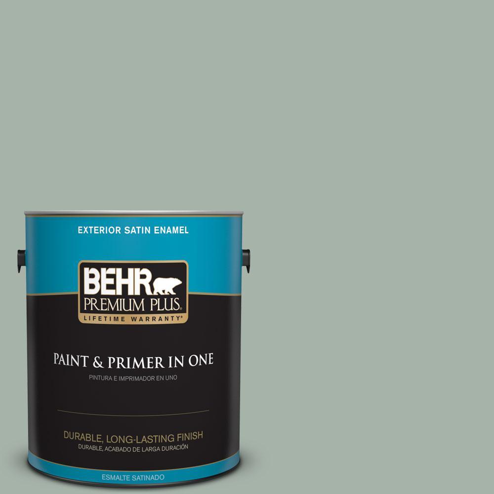 BEHR Premium Plus 1-gal. #PMD-100 Aquatone Satin Enamel Exterior Paint