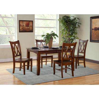 Espresso Wood Double X-Back Dining Chair (Set of 2)