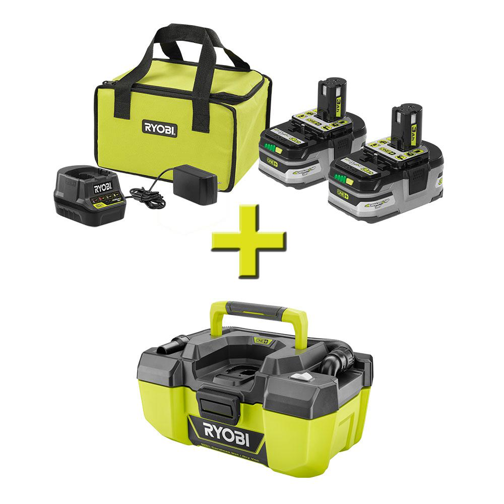 RYOBI 18-Volt ONE+ LITHIUM+ HP 3.0 Ah Battery (2-Pack) Starter Kit with Charger and Bag with Bonus ONE+ 3 Gal. Wet/Dry Vacuum
