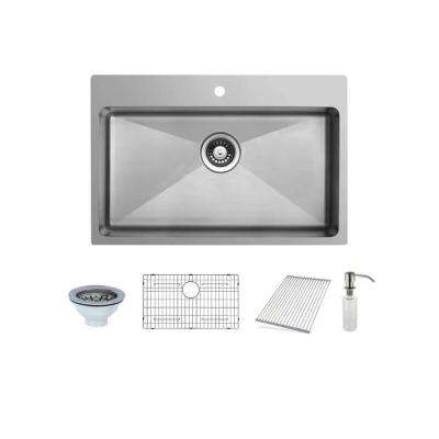 33 in. Dual Mount Single Bowl Stainless Steel Sink