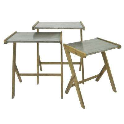 28 in. Gray Wood/Metal Accent Table (Set of 3)