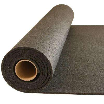 Plyometric Black 4 ft. x 10 ft. x 0.314 in. Gym Rubber Floor Roll