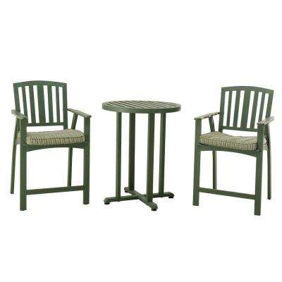 Berry Pointe 3-Piece Patio Bistro Set with Green Cushions