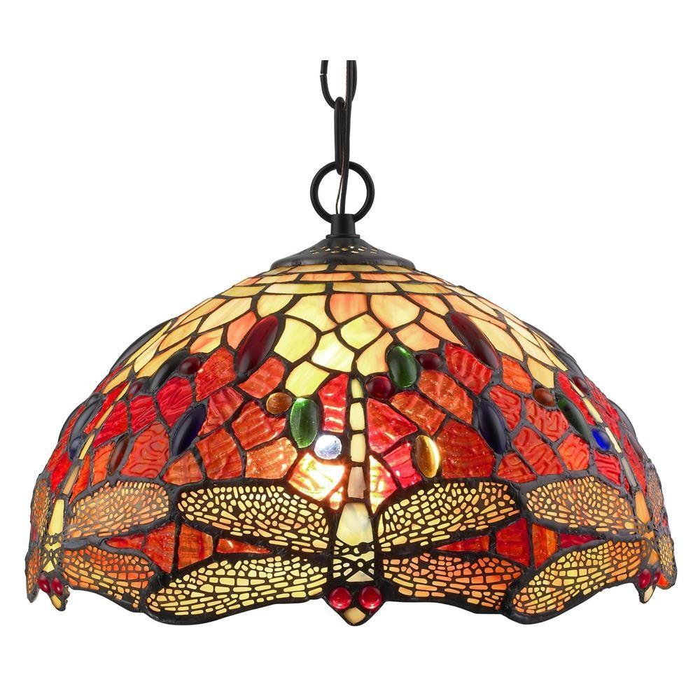 Amora lighting tiffany style 2 light dragonfly hanging pendant lamp 14 in wide