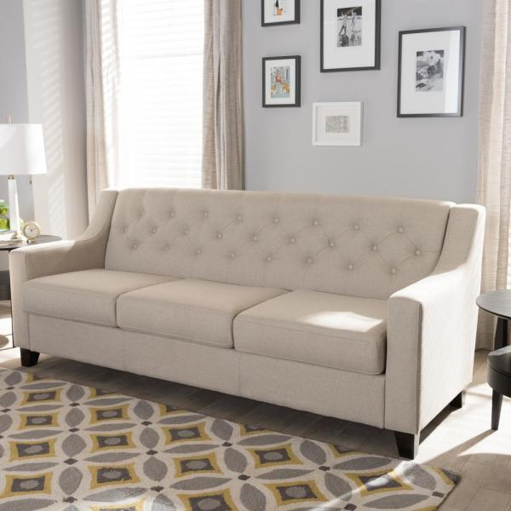 Baxton Studio Arcadia Contemporary Light Beige Fabric Upholstered