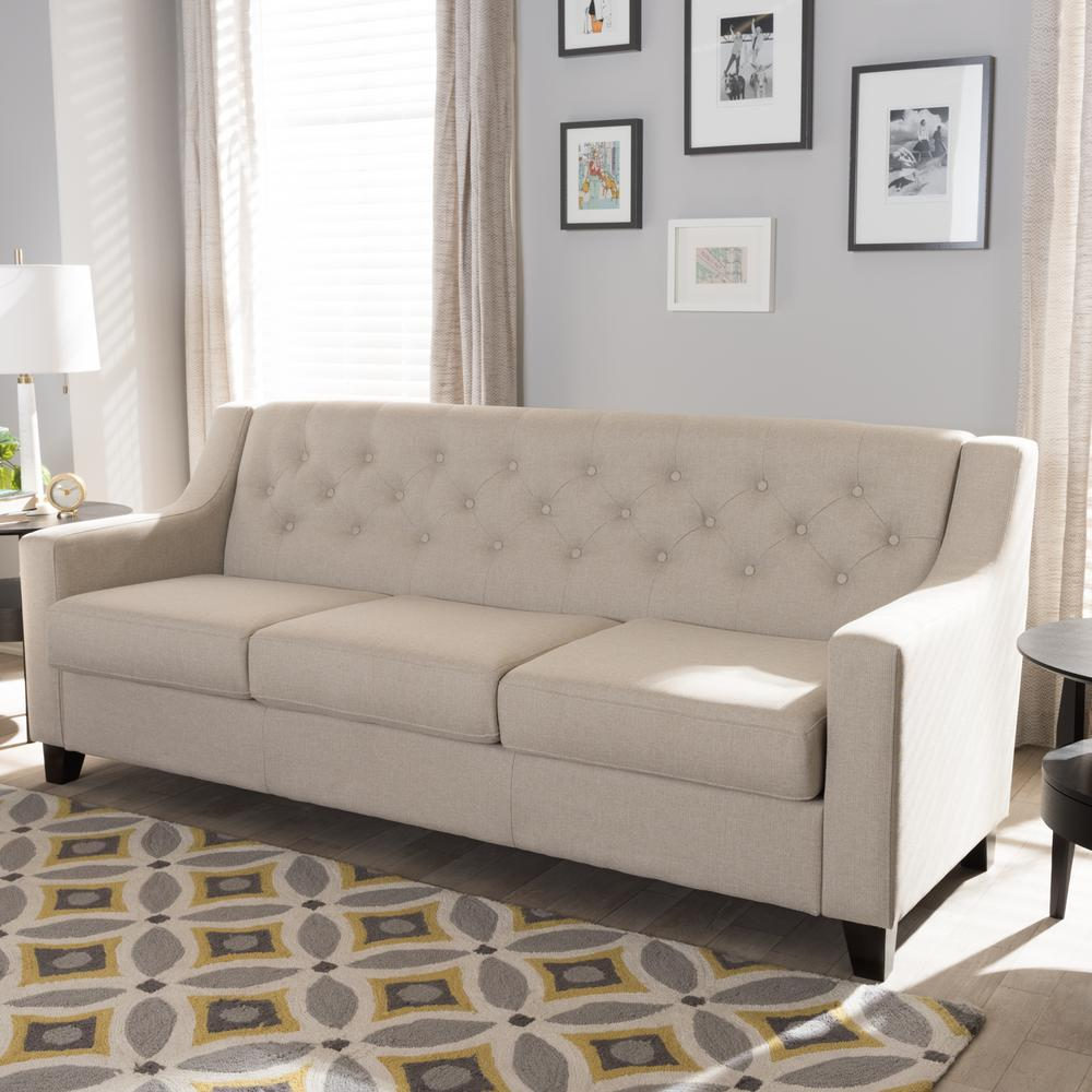 Baxton Studio Arcadia Contemporary Light Beige Fabric Upholstered Sofa