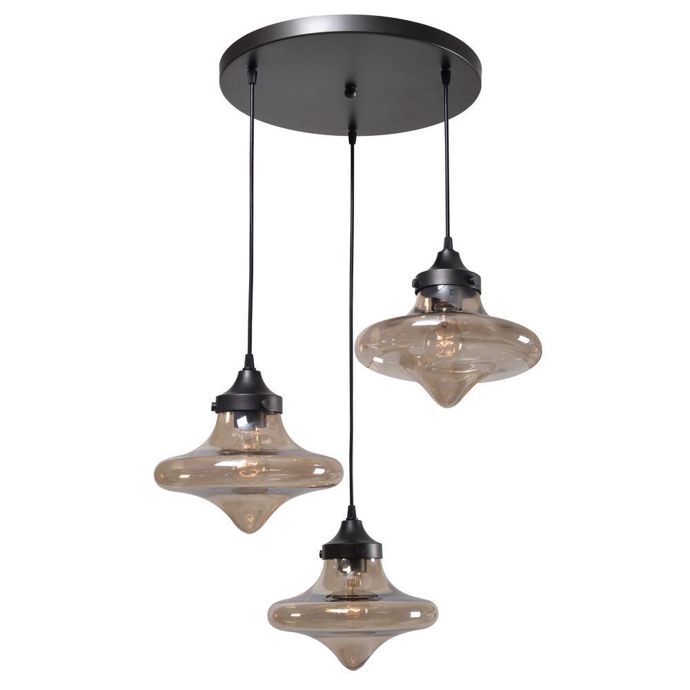 Rain Drop 3-Light Bronze Pendant