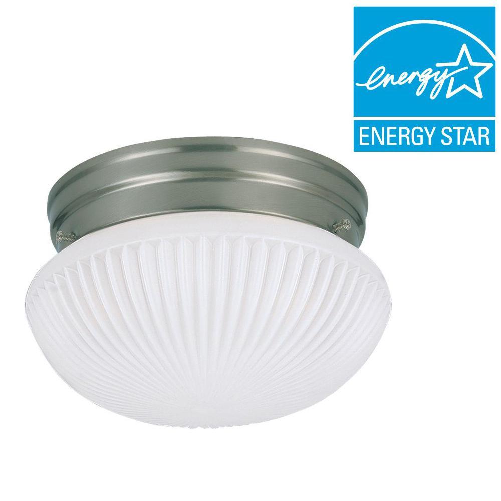 Sea Gull Lighting Webster 1-Light Brushed Nickel Flushmount