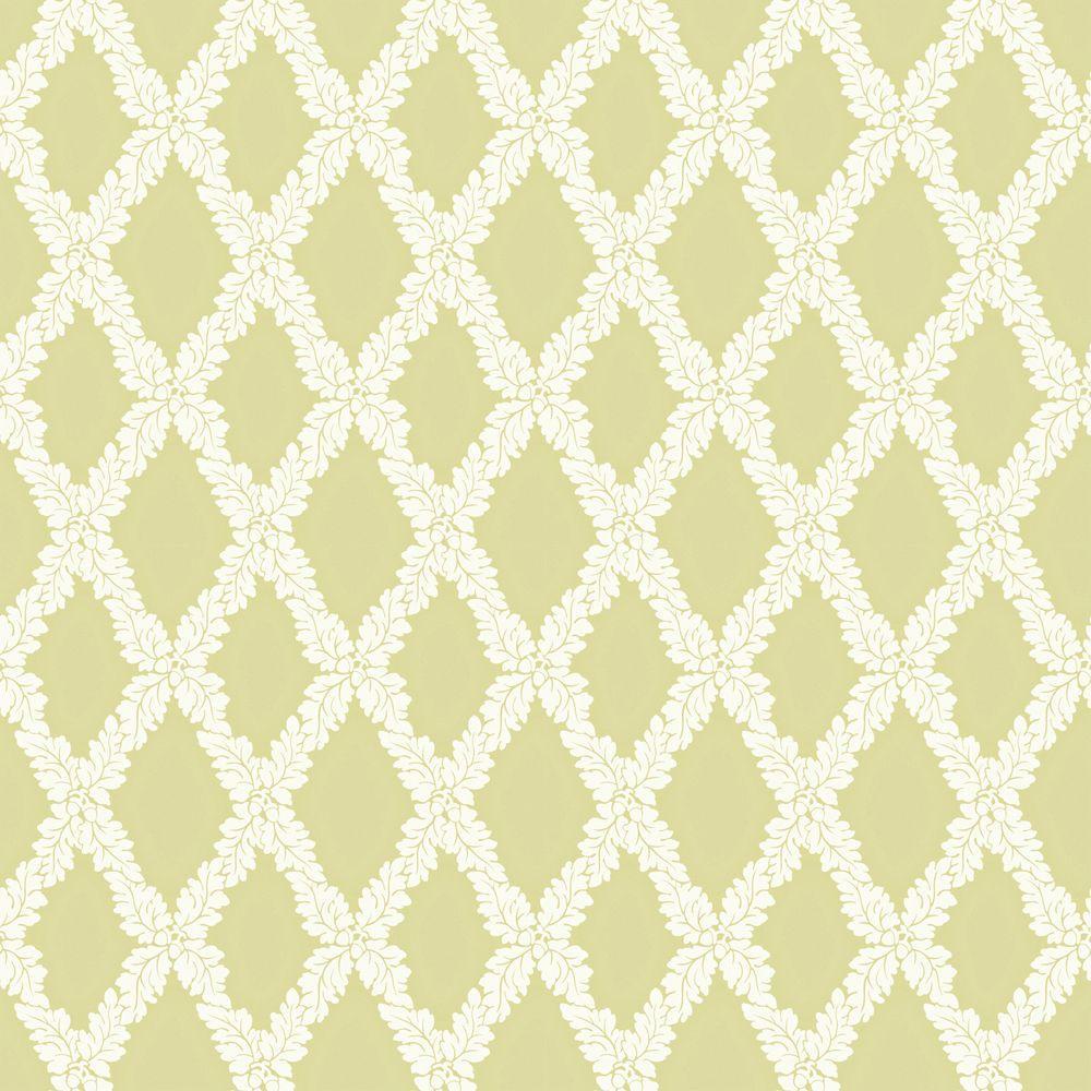 The Wallpaper Company 56 sq. ft. Green Acorn Trellis Wallpaper