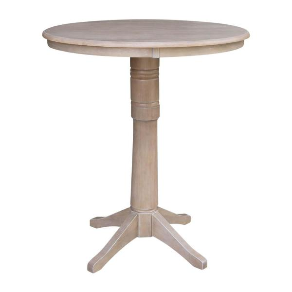 Olivia 36 in. Round Weathered Taupe Gray Solid Wood Bar Table