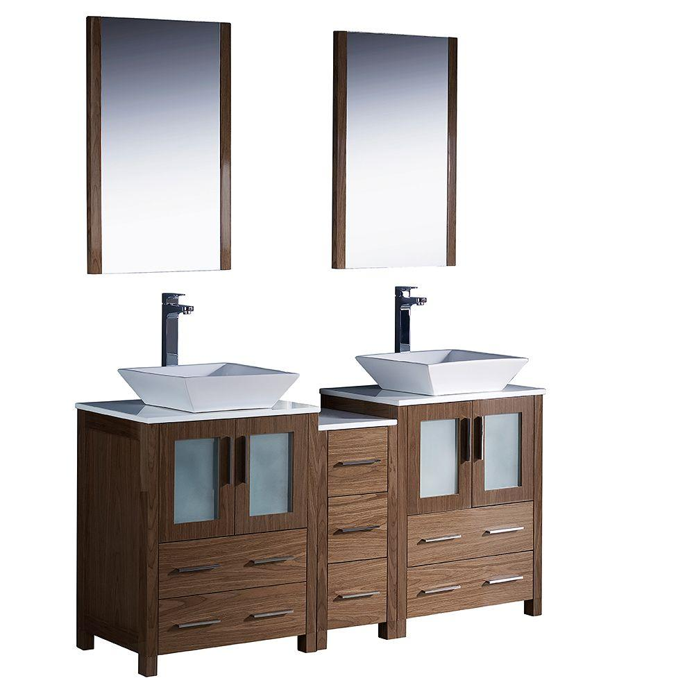 Fresca Torino 60 in. Double Vanity in Walnut Brown with Glass Stone Vanity Top in White and Mirrors