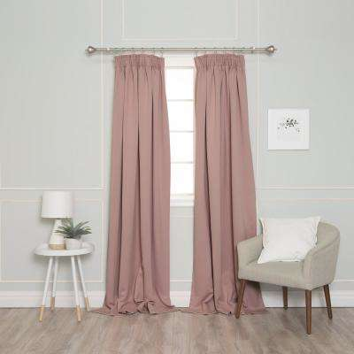 84 in. L Pencil Pleat Blackout Curtains in Dusty Pink (2-Pack)