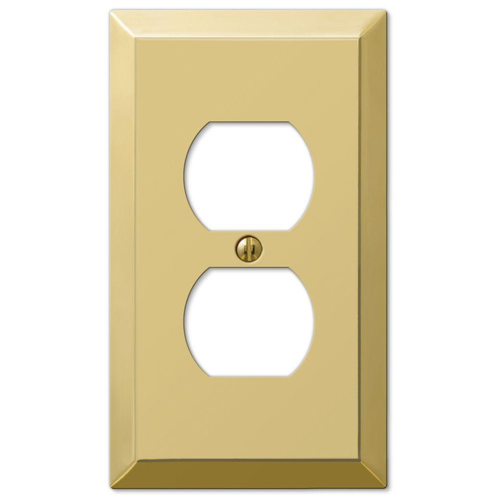 Hampton Bay Metallic 1 Duplex Outlet Plate - Polished Brass Steel ...