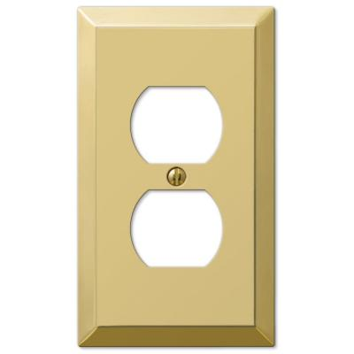 Metallic 1 Gang Duplex Steel Wall Plate - Polished Brass