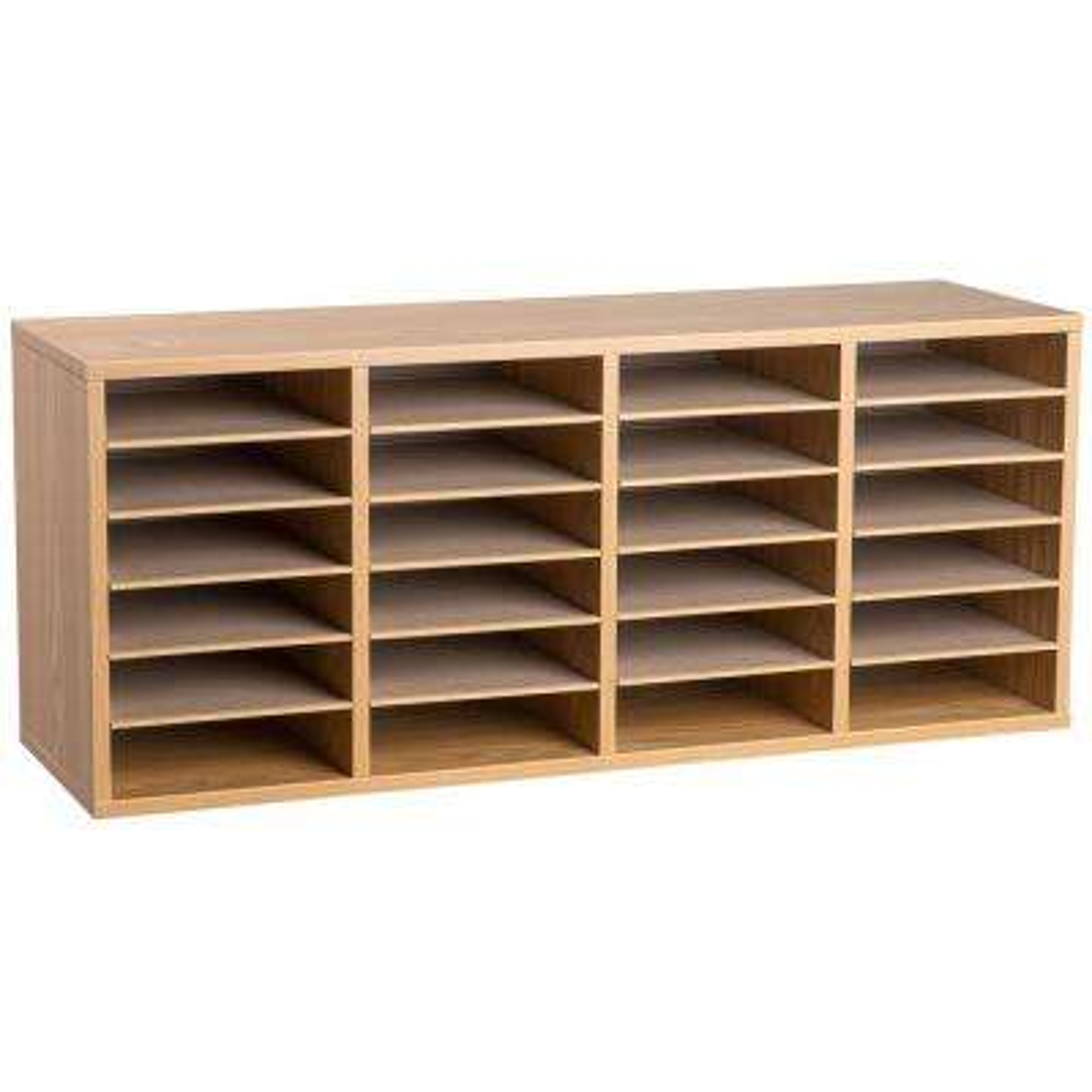 Wood Adjustable 24 Compartment Literature Organizer, Medium Oak