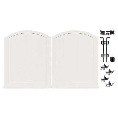 Pro Series 6 ft. x 5 ft. White Double Drive Through Woodbridge Arched Vinyl Fence Gate