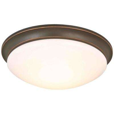 13 in. 360-Watt Equivalent Oil-Rubbed Bronze Integrated LED Flush Mount with Frosted Glass Shade