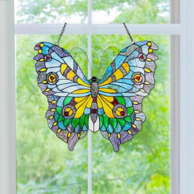 Multi Stained Glass Swallowtail Butterfly Window Panel