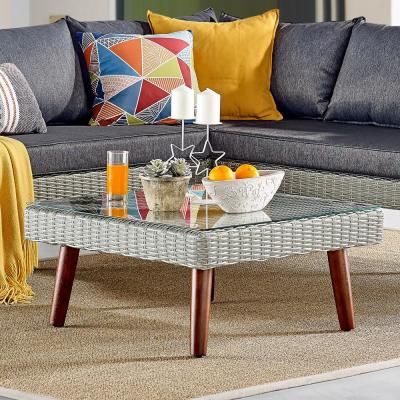 Albany Brown Square All-Weather Wicker Outdoor Coffee Table with Glass Top