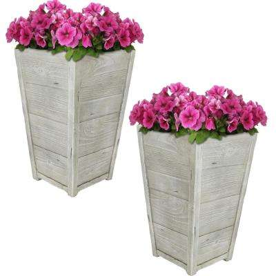 Manor 13 in. Fiber Clay Square Durable Indoor/Outdoor Use Planter Flower Pot (Set of 2)