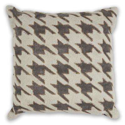 Ivory/Grey Houndstooth 18 in. x 18 in. Decorative Pillow