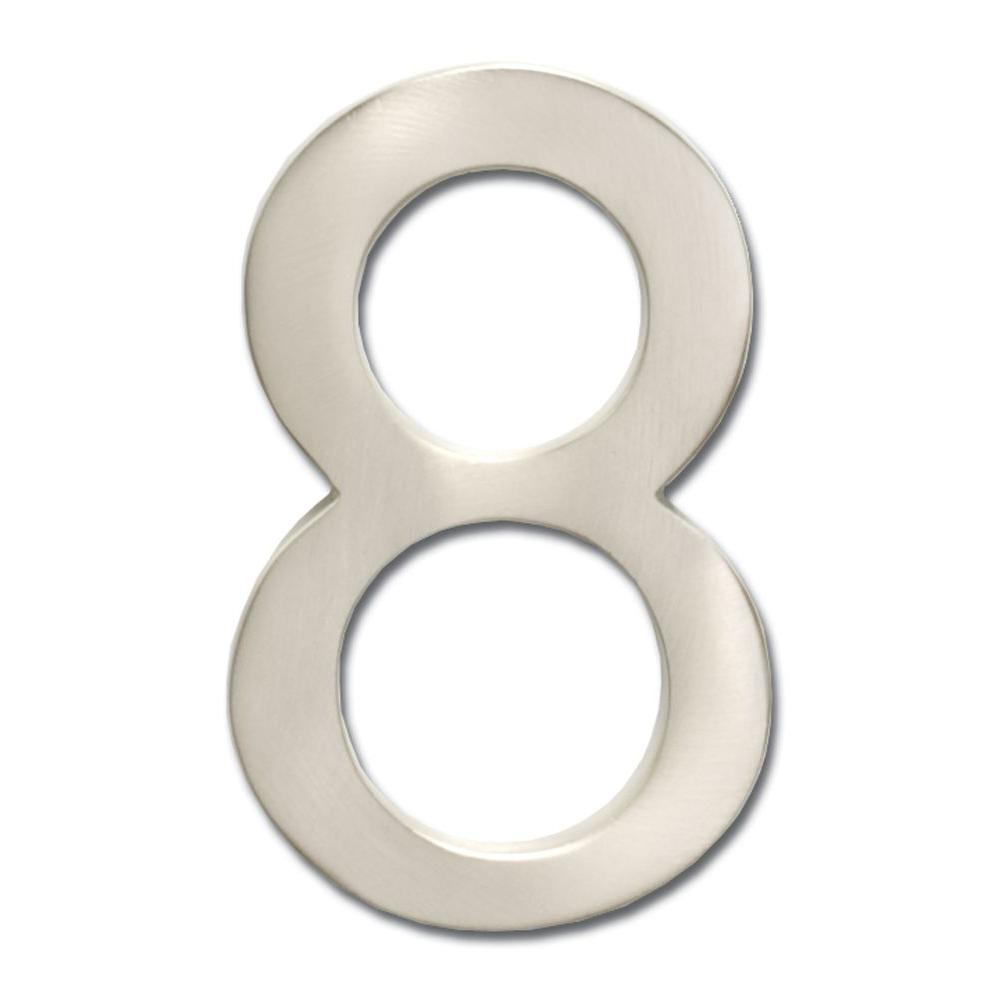 4 in. Satin Nickel Floating House Number 8