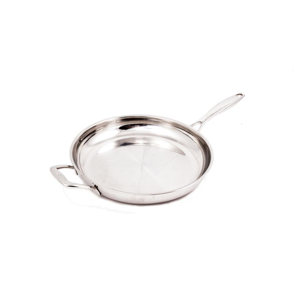 Premium Clad 12.5 in. Stainless Steel Frying Pan