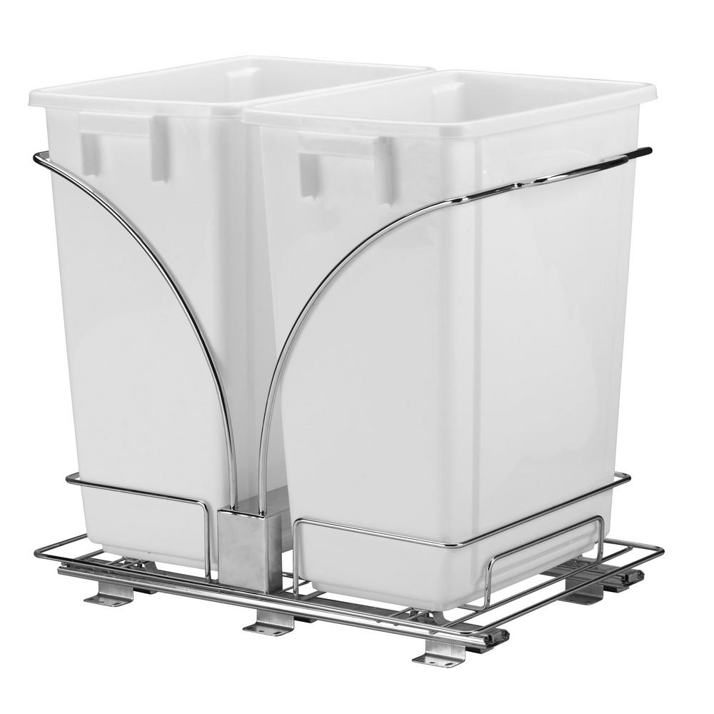 Design Trend 15.5 in. Double Sliding Trash Can in Chrome