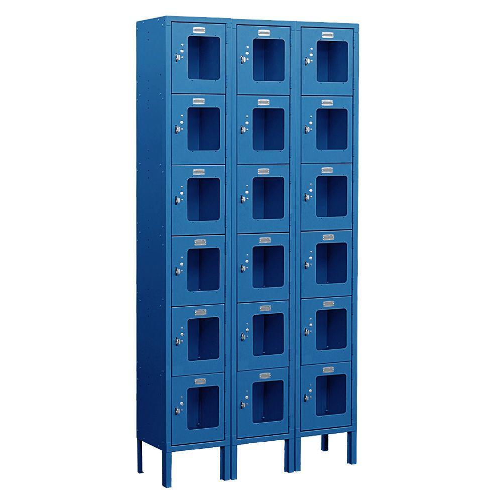 S-66000 Series 36 in. W x 78 in. H x 15 in. D 6-Tier Box Style See-Through Metal Locker Unassembled in Blue