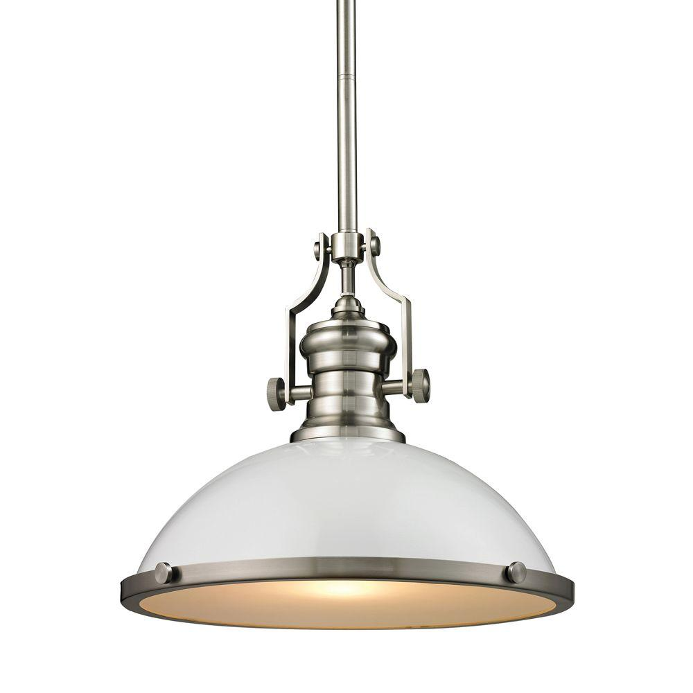 Titan Lighting Chadwick 1-Light Gloss White/Satin Nickel Pendant  sc 1 st  Home Depot & Titan Lighting Chadwick 1-Light Gloss White/Satin Nickel Pendant-TN ...