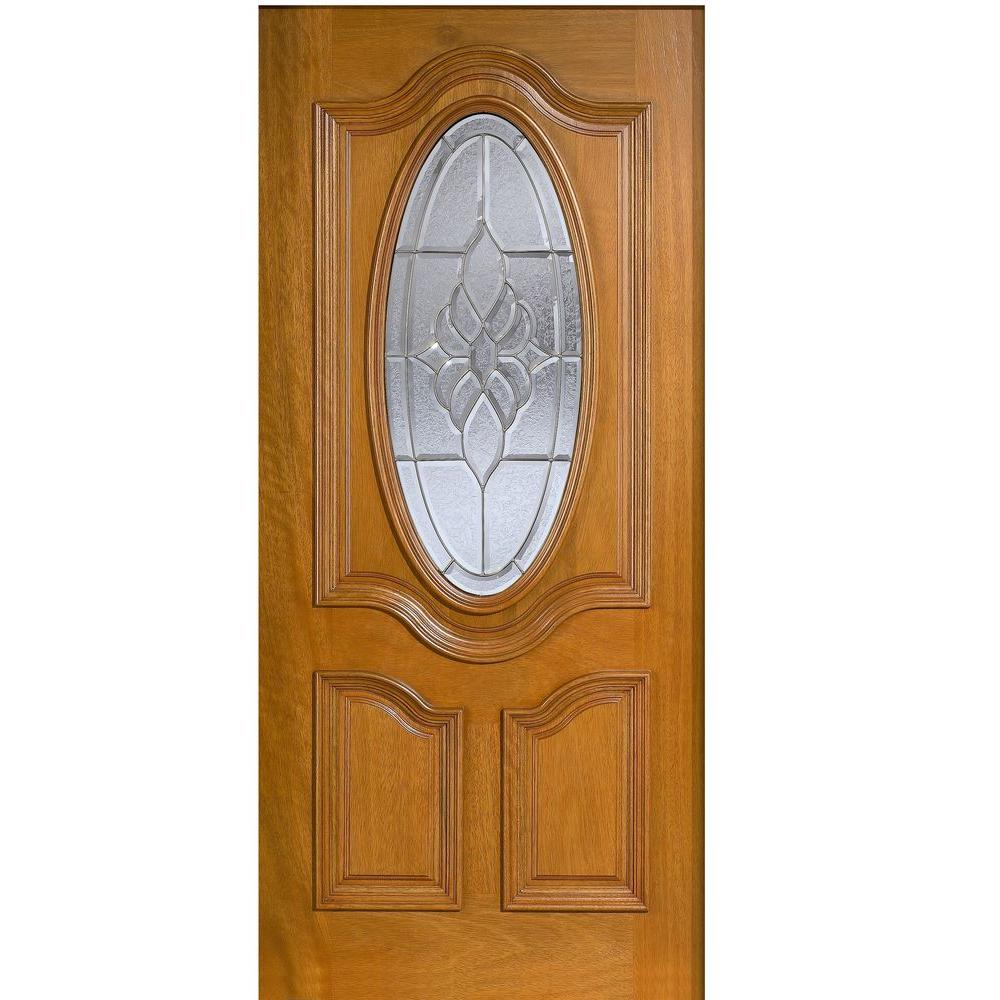 Main Door 32 in. x 80 in. Mahogany Type 3/4 Oval Glass Prefinished Golden Oak Beveled Zinc Solid Stained Wood Front Door Slab