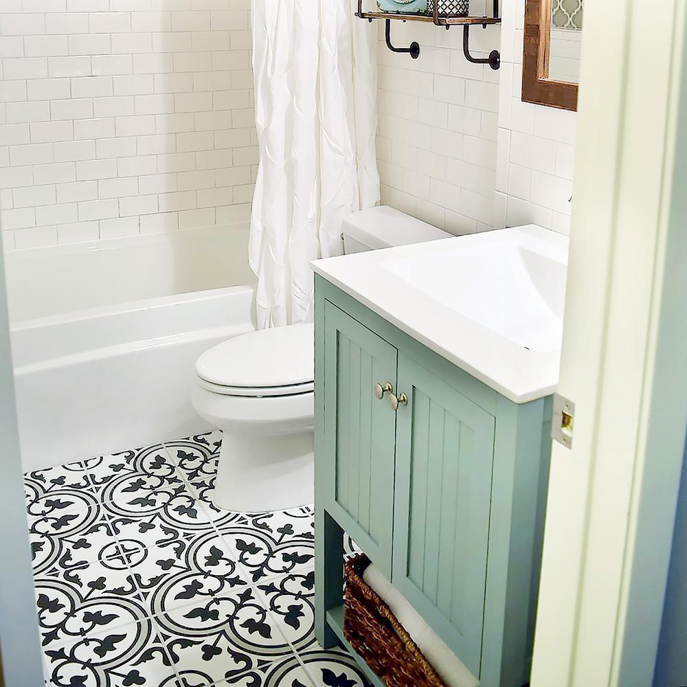 Merola Tile Arte Grey Encaustic 9 3 4, White Tile Bathroom Floor