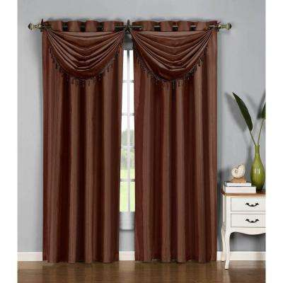 36 in. W x 37 in. L Jane Faux Silk Grommet Waterfall Window Valance in Chocolate