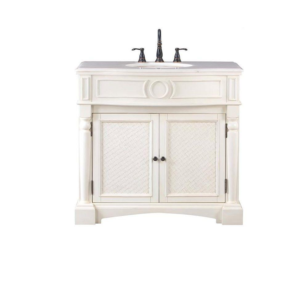 Home Decorators Collection Palermo 37 in. Vanity in Antique White with Marble Vanity Top in White
