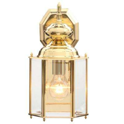 Classic brass gold outdoor wall mounted lighting outdoor brass guard collection 7 inch polished brass outdoor wall lantern workwithnaturefo