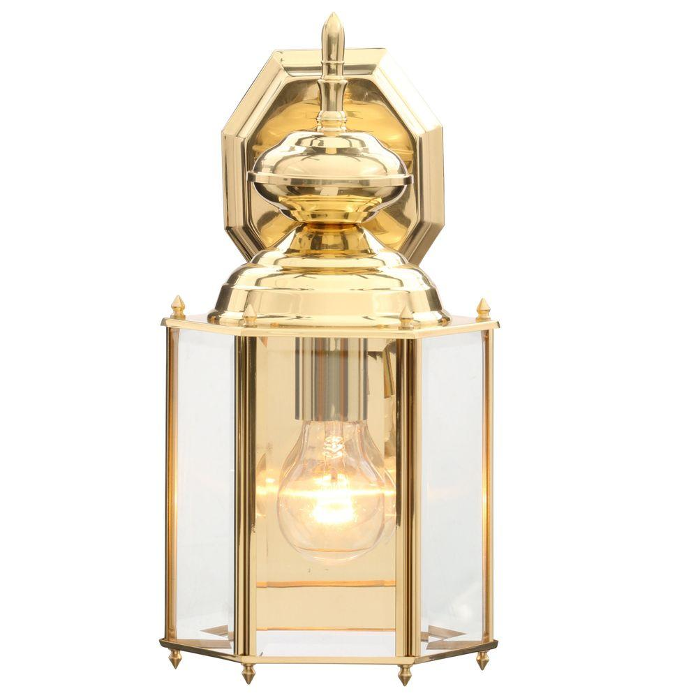 the latest 2cbb7 b8482 Progress Lighting Brass Guard Collection Polished Brass 14.25 in. Outdoor  Wall Lantern Sconce